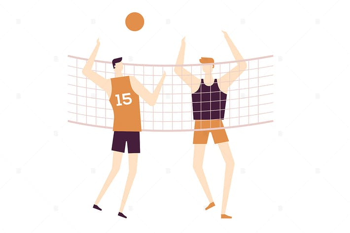 Thumbnail for Men playing volleyball - flat design illustration