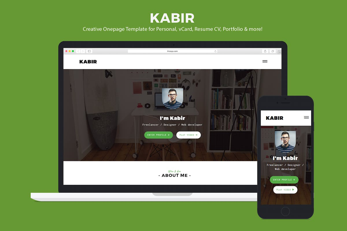 Download Personal vCard Template - Kabir by ILMThemes by Unknow