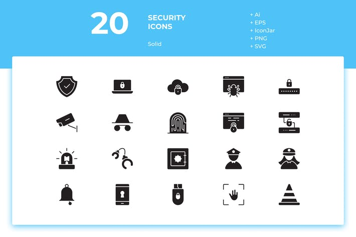 Thumbnail for 20 Security Icons (Solid)