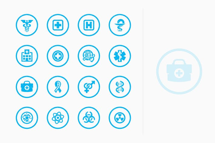 Thumbnail for Medical & Health Care Icons Set 1 - Blue Circles