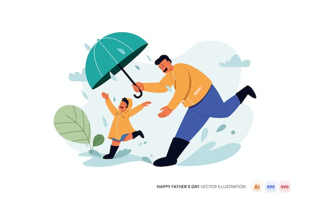Happy Fathers Day Vector Illustration