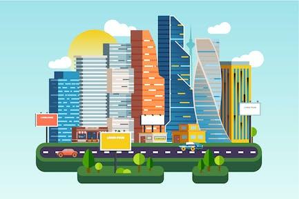 Flat City Downtown Landscape