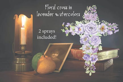 Lavender Floral Cross