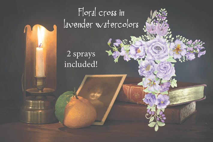 Thumbnail for Lavender Floral Cross