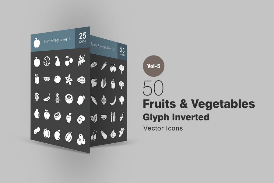 50 Fruits & Vegetables Glyph Inverted Icons