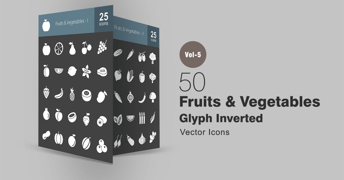 Download 50 Fruits & Vegetables Glyph Inverted Icons by IconBunny