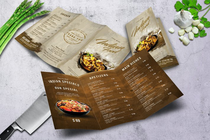 Thumbnail for Indian A4 & US Letter Trifold Food Menu