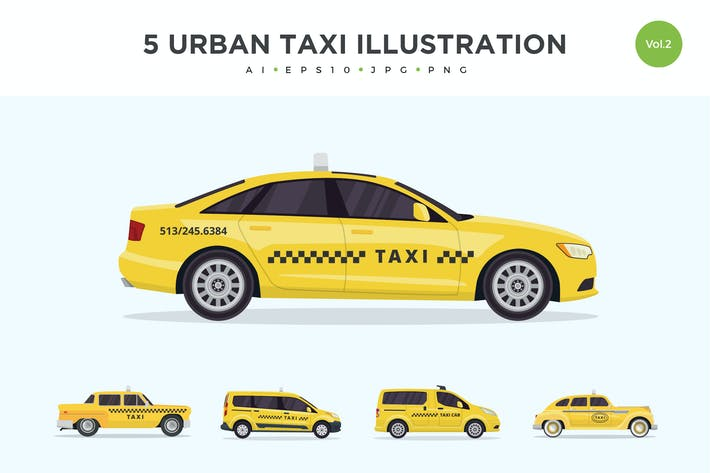 Thumbnail for 5 Urban Taxi Vector Illustration Set 2