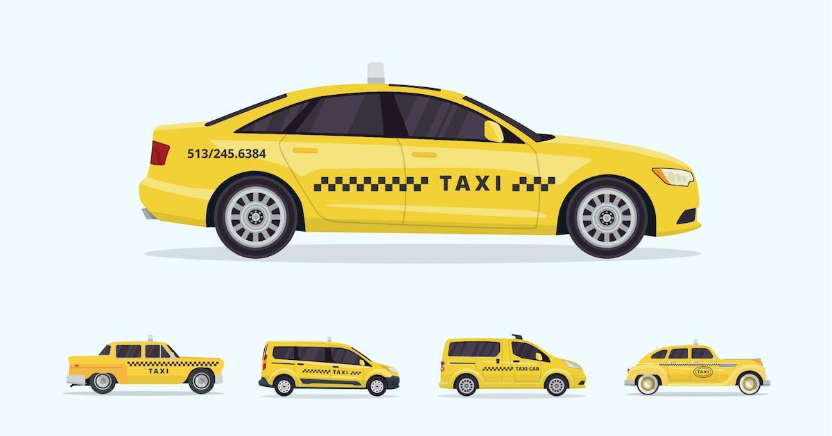Download 5 Urban Taxi Vector Illustration Set 2 by naulicrea