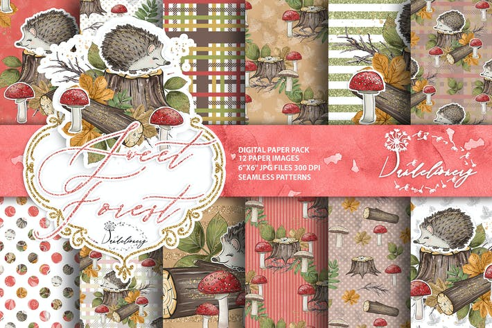 Thumbnail for Sweet Forest digital paper pack