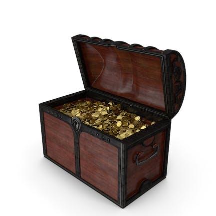 Cofre de madera con monedas de oro