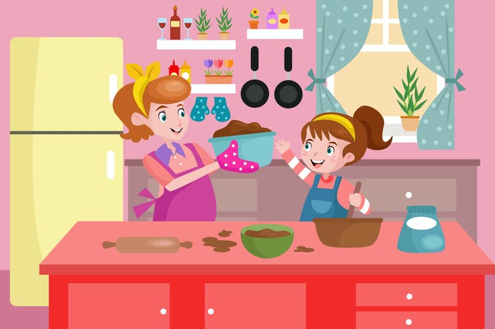 Thumbnail for Mommy and Daughter Cooking Together - Illustration