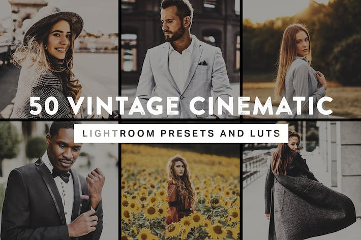 Thumbnail for 50 Vintage Cinematic Lightroom Presets and LUTs