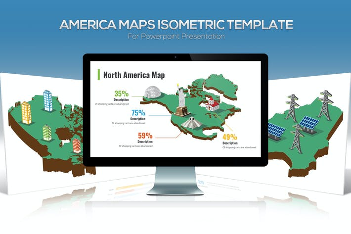 Thumbnail for America Maps Isometric & Legends For Powerpoint