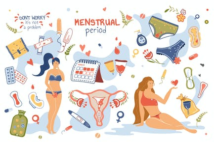 Menstrual Period Concept Isolated Elements Set