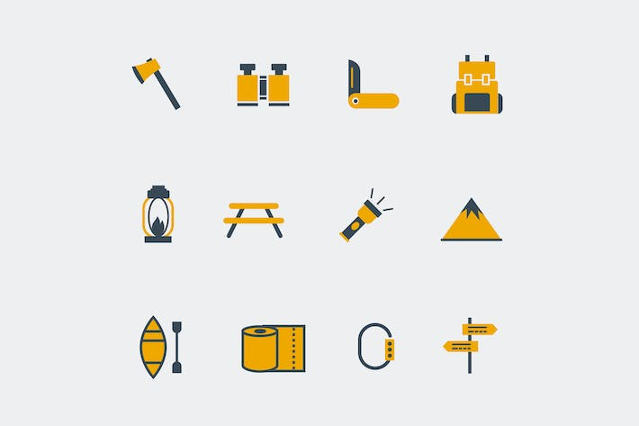 Thumbnail for 12 Camping Icons