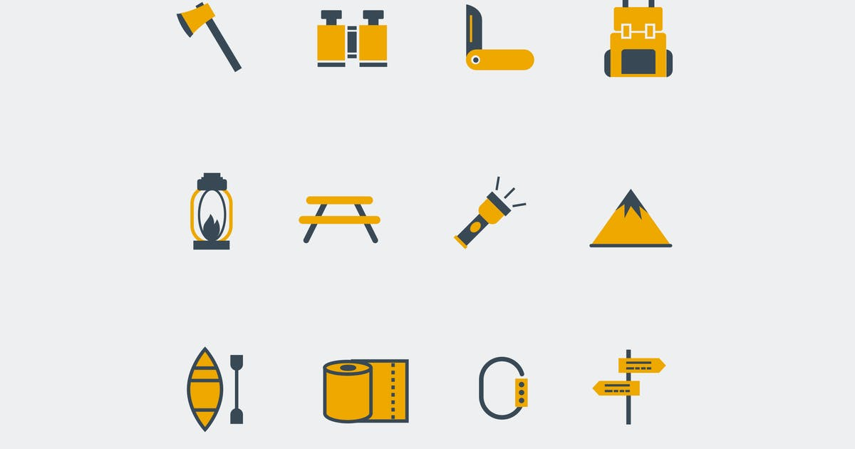 12 Camping Icons by creativevip