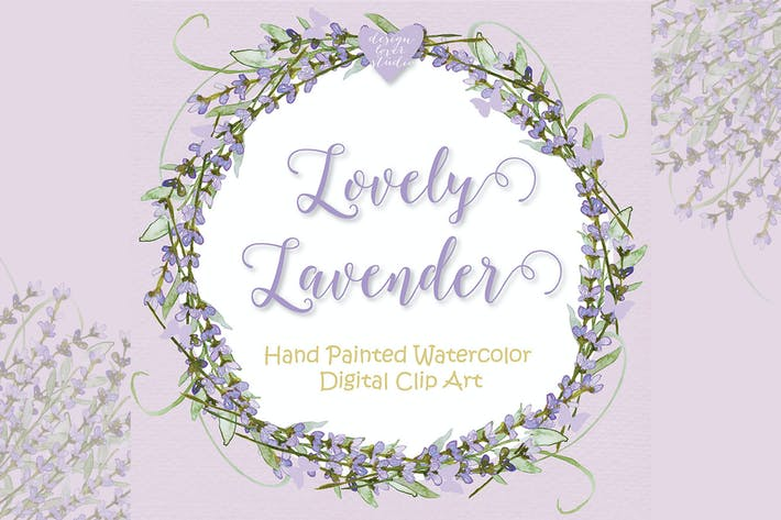 Thumbnail for Watercolor lavender wreath design