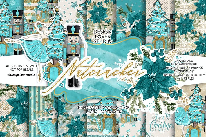 Thumbnail for Nutcracker digital paper pack