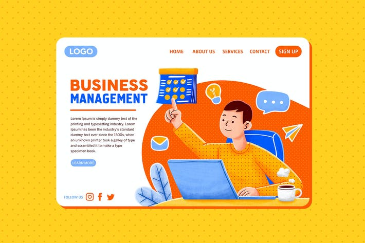 Thumbnail for Business Management — Landing Page Illustration