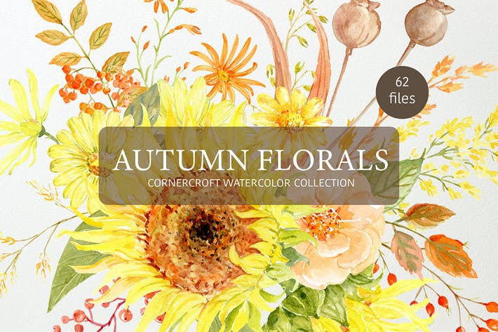 Thumbnail for Watercolor Autumn Florals Collection