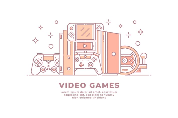 Thumbnail for Video Games and Devices Illustration