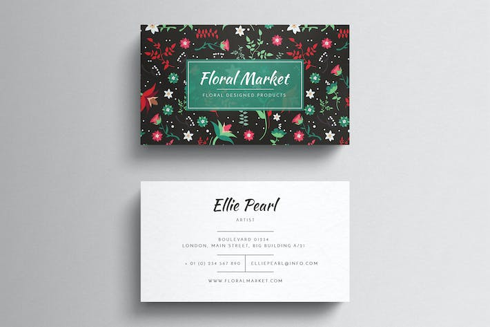 Cover Image For Floral Business Card Template