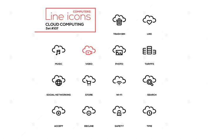 Thumbnail for Cloud computing - modern line design icons set
