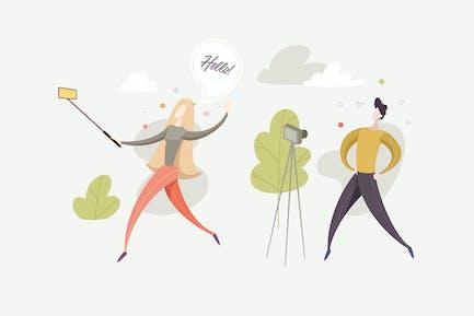 Vlog & Blog Illustration Vector