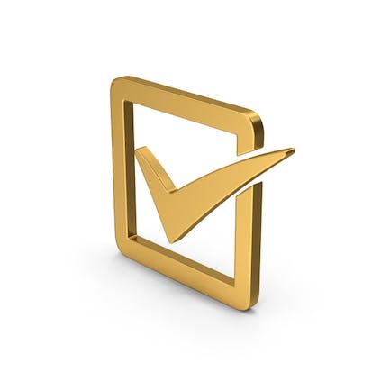 Symbol Check Box Gold
