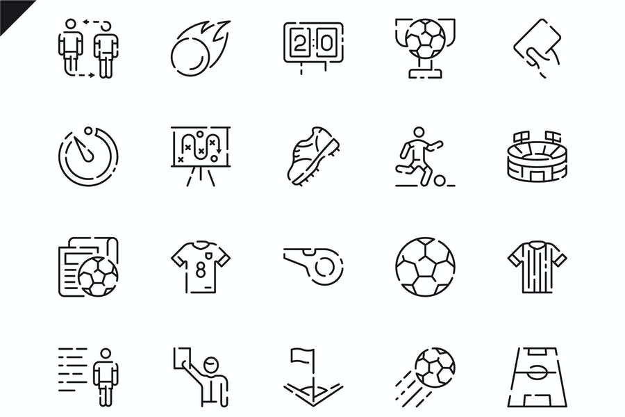 Simple Set Soccer Line Icons