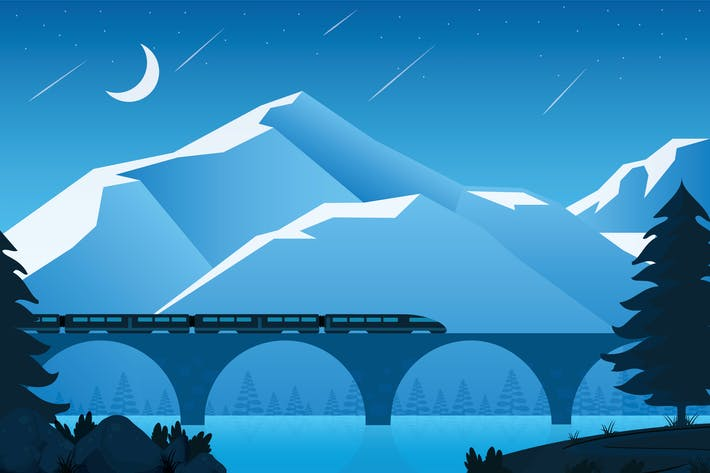 Thumbnail for Night Train - Landscape Illustration