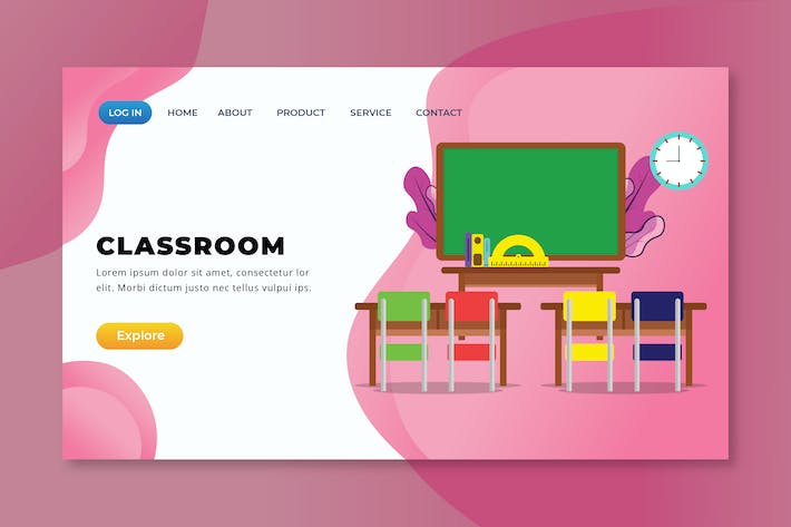 Thumbnail for Classroom - XD PSD AI Vector Landing Page