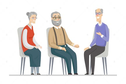 Senior people talking - flat design illustration