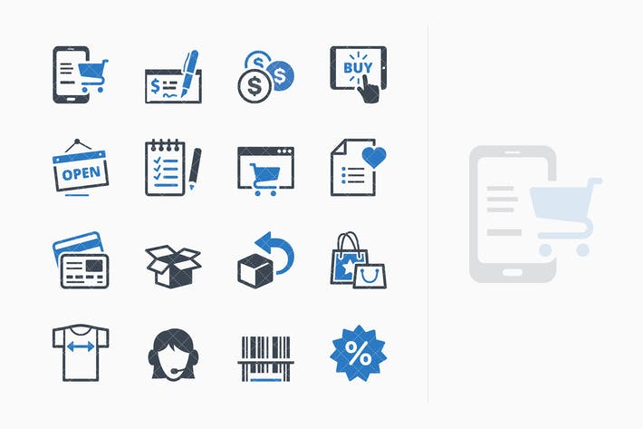 Thumbnail for E-commerce Icons Set 3 - Blue Series