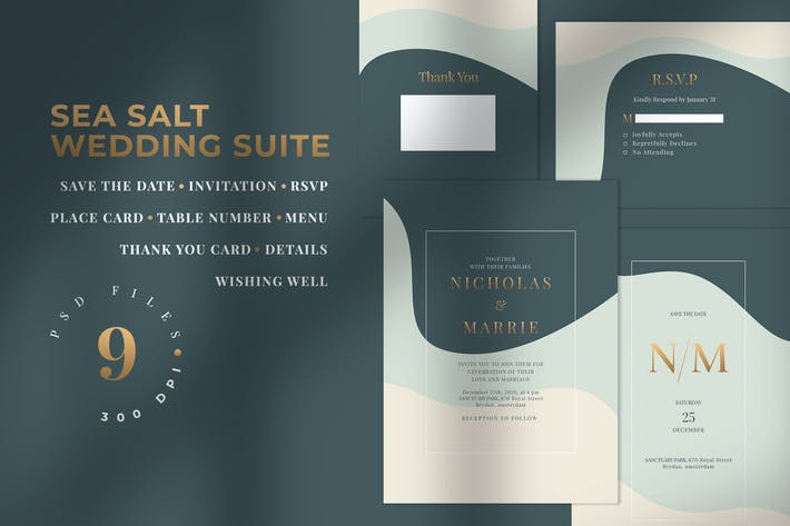 Thumbnail for SEA SALT - Wedding Invitation Suite