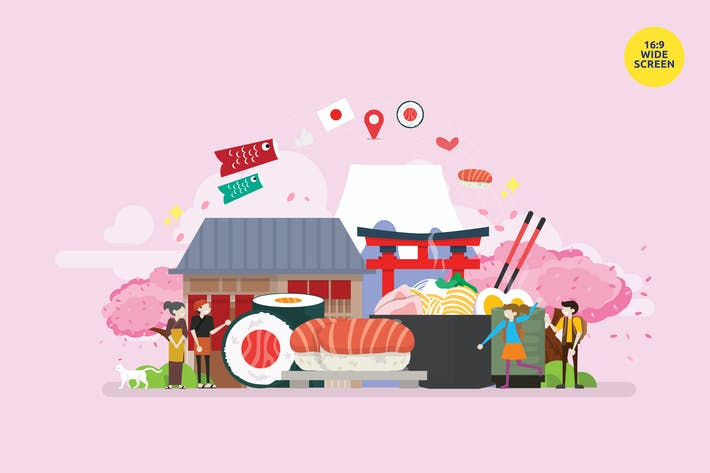 Thumbnail for Japanese Food Vector Illustration Concept
