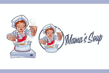 Cartoon weibliche Koch Kochen Suppe Maskottchen Logo