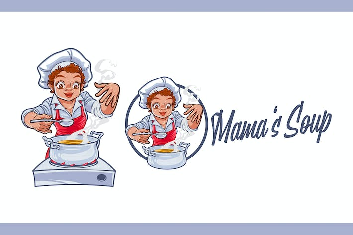 Cover Image For Cartoon Female Chef Cooking Soup Mascot Logo