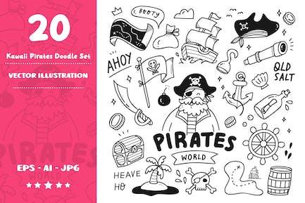 Kawaii Pirates Doodle Set