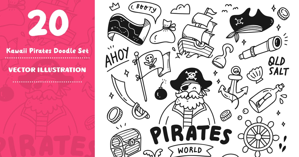 Download Kawaii Pirates Doodle Set by GoDoodle