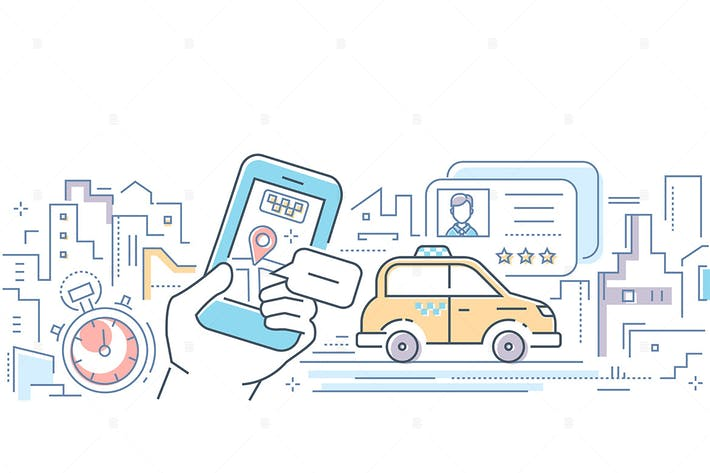 Thumbnail for Taxi mobile app - line design style illustration