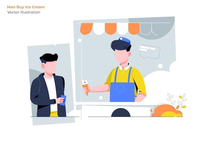 Thumbnail for Man Ice Cream - Vector Illustration