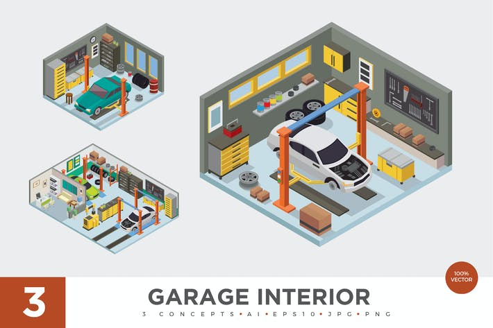 Thumbnail for 3 Isometric Garage Workshop Interior Vector Set 1