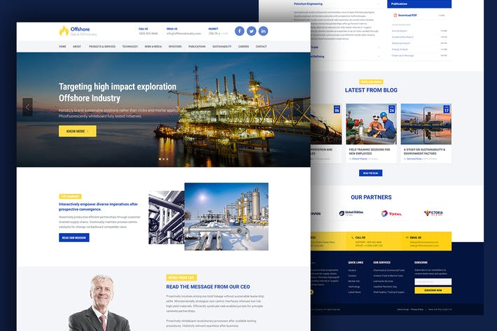 Thumbnail for Industrial Business Website Template — Offshore