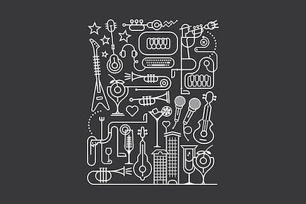 Karaoke Party Line Art Vector Illustration