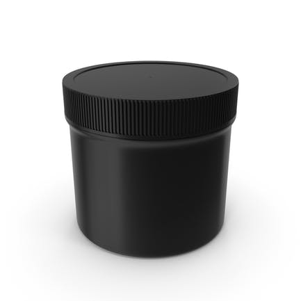 Plastic Jar Wide Mouth Straight Sided 4oz Closed Black