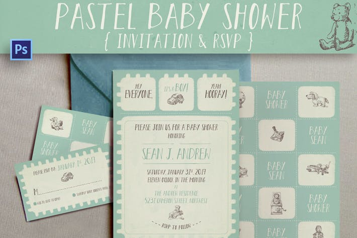 Pastel Baby Shower Invitation
