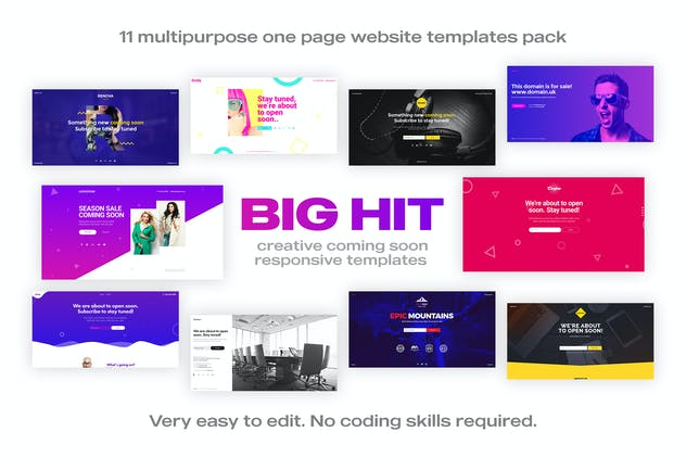 BigHit - Coming Soon Responsive Templates Pack