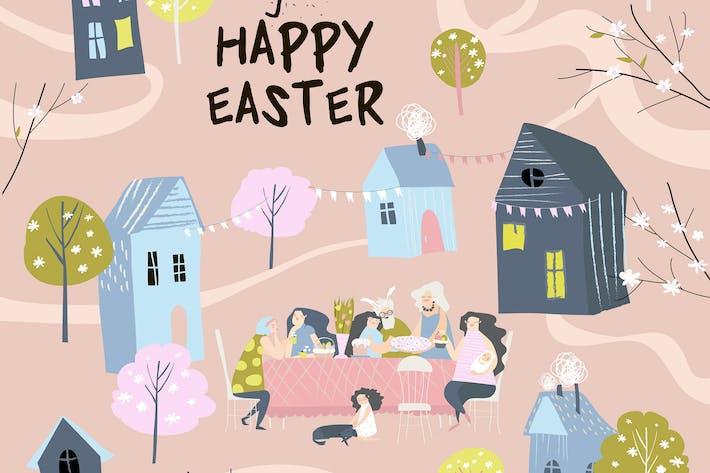Thumbnail for Cartoon happy family having Easter dinner in garde